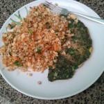#Veggie Food – ensalada de trigo. La comí con una rica tortilla de espinaca!