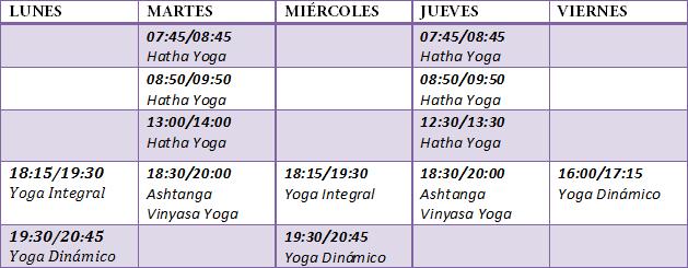 Horario clases de Yoga Microcentro